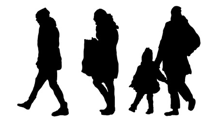 mother with a child for a walk. walking tour. Siluet children and women. vector black on white isolated background Çizim