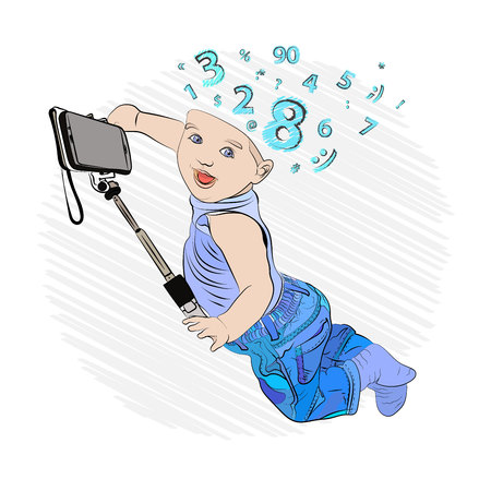 selfie stick and selfie baby. children and appliances. kids brain internet. Vector illustration on white isolated background. sketching style