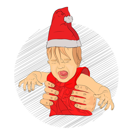 baby new year crying. the child did not receive a gift. child frightened santa claus. bad kid for christmas. Vector illustration for your design on white background. sketching style