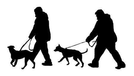 dog handler. dog policeman. guide-dog. vector illustration on white background Standard-Bild - 125875495