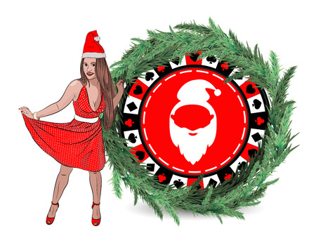 casino new year victory. Santa Claus woman sexy with long hair jacking in to rip up concept. Vector illustration on a white background with a New Year poker chip in the branches of spruce. style sketching