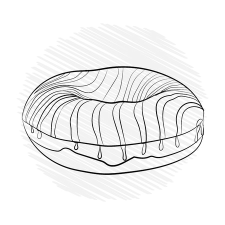 donut striped sweet. Vector illustration black white. sketching style coloring Stock Photo