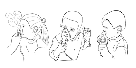 children inhalation treatment. vector illustration in sketching style on a white background Stock Photo