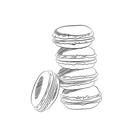 color cookies sweet. Vector illustration black white. sketching style coloring