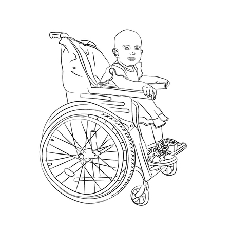 little baby is sick. child in a wheelchair sketching. vector illustration on white background isolated