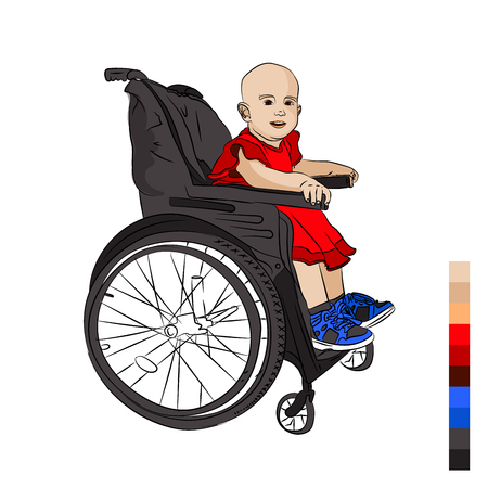 cute baby is disabled. in a wheelchair. leukemia. crayfish. The consequence of chemical therapy is baldness. Vector illustration on white isolated background. sketching style Stock Photo