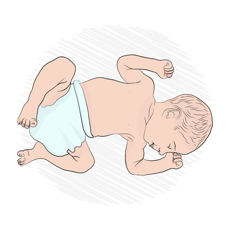 the baby is sleeping. the little baby is sleeping in the fetal position Stock Photo