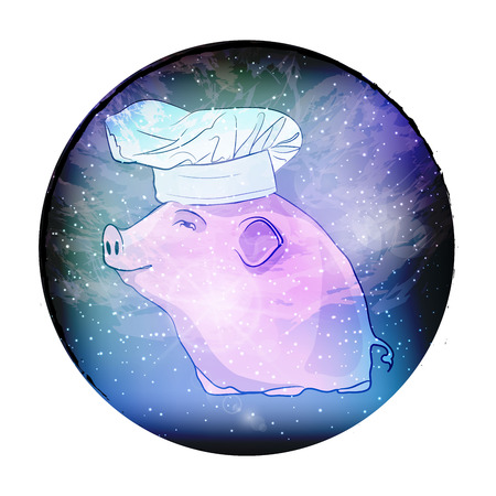 Pig symbol 2019. Cute pig in space. vector illustration. sketching style Stock Photo
