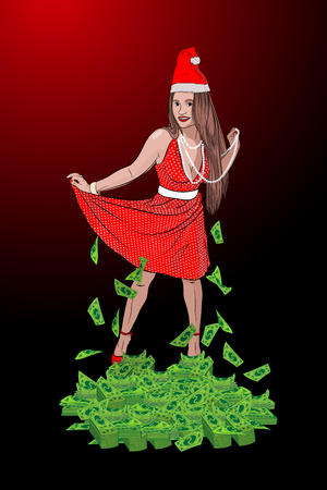 Santa Claus woman. A lot of money. New Years Eve to hit the jackpot. New Years Winning Contest. vector illustration. sketching style...