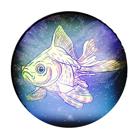 fish cosmic constellation of fish. Vector illustration on white isolated background. sketching style by hand