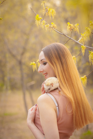 Hedgehog sitting on the shoulder of a beautiful girl. Woman plays with animals. Small rodent and man.