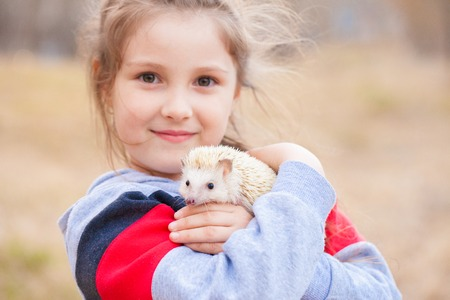The concept of joy. Girl holding a hedgehog. Little baby playing with a rodent. Imagens