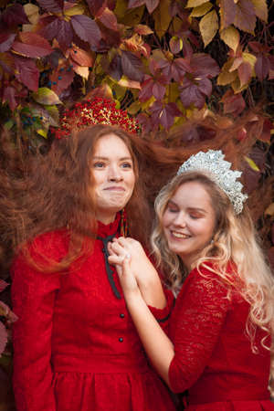 Russian girls are beautiful. Russian national traditions. Sisters in crowns. Wives from abroad. Girlfriends in red dresses. Fairy princesses.