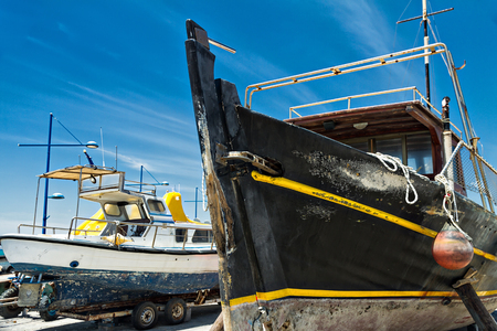 anchored: old ships on the beach of the Mediterranean Sea Stock Photo