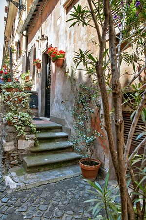 toscana: Little courtyard with flowers in Orvieto, Italy, Toscana