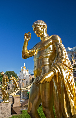 petrodvorets: Golden sculpture of Petrodvorets in Peterhof, St. Petersburg