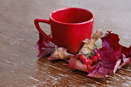 Red Cup with autumn leaves and berries on a wooden table