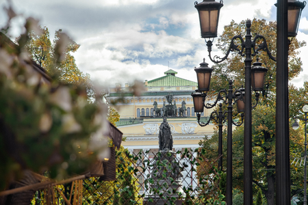 Monument to Catherine II, the view from the street Malaya Sadovaya in St. Petersburg Stock Photo