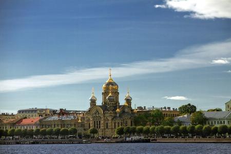Lieutenant Schmidt embankment and an Orthodox Church in St. Petersburg Stock Photo