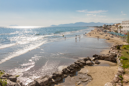 recuperation: Tyrrhenian Sea Beach near Sperlonga, Italy Stock Photo
