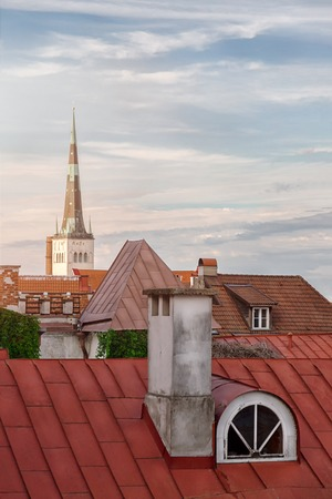 Roof top view of the old Tallinn streets with medieval houses Stock Photo