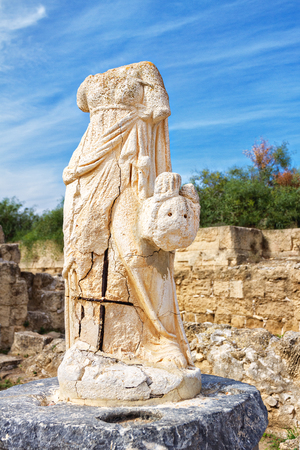 Ruins of the female statues without heads in ancient city of Salamis, Famagusta, North Cyprus 스톡 콘텐츠