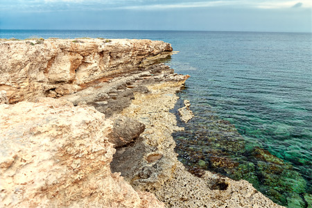 Rocky cape of the coast of the Mediterranean Sea on Cyprus