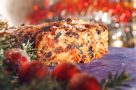 Christmas cake with dried fruits and candied fruits