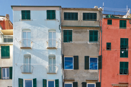 colored facade of houses on the seafront of Portovenere in Italy