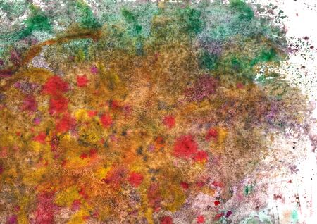abstract watercolor texture with green, yellow and violet strokes, dots, spots Фото со стока