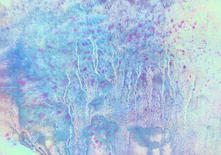 abstract marine texture with turquoise green, pink, blue and gray vertical branched lines, spots, spray