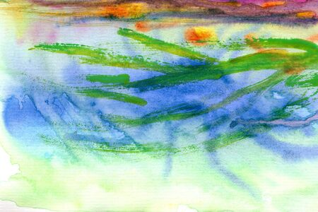diagonal texture bright lines with brush, green, yellow, blue, purple watercolor background