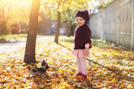 baby girl 3 years in red sweater and beret with bouquet of yellow maple leaves and smiles in park sunny autumn