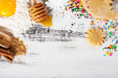 sprinkling: Background baking. Ingredients for ginger cookies. Bright candy sprinkling. Stock Photo