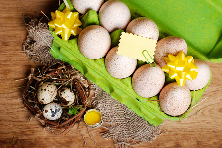 composition: Easter composition with eggs Stock Photo