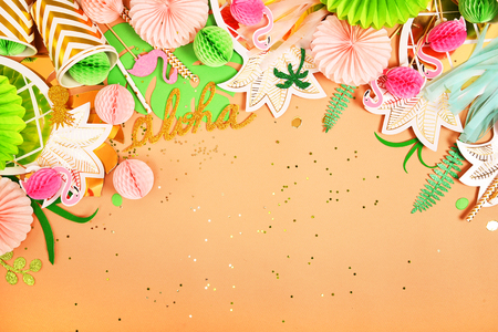 Festive background. Tropical theme. Summer. Hawaii. Party, birthday. View from above. Flat lay.
