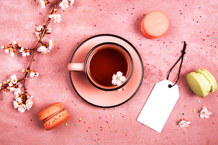 A cup of tea in the spring. View from above. Place for text.