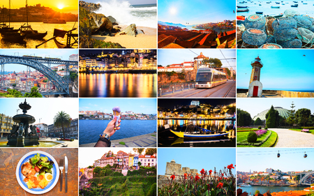 Large collage with landmarks of Porto, Portugal.