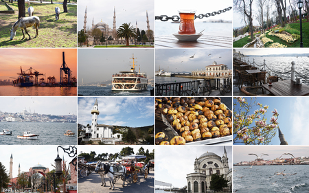 Landscapes of Istanbul and nearby islands. Spring time of the year, flowering parks, bazaar, port. Istanbul. Turkey