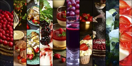 Collage with berry desserts. Sweet food on a dark background