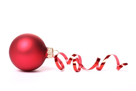 glass ornament: Red Christmas ball with a tape