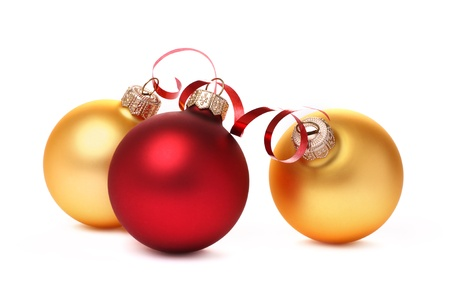 Red and yellow Christmas balls with a tape photo