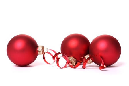 Red Christmas balls with a tape