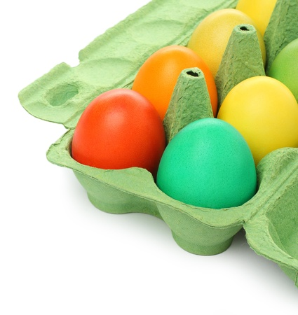 Colorful Easter eggs in a pack