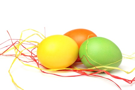 Colorful Easter eggs on a white background
