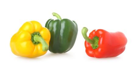 A trio of brightly coloured capsicums