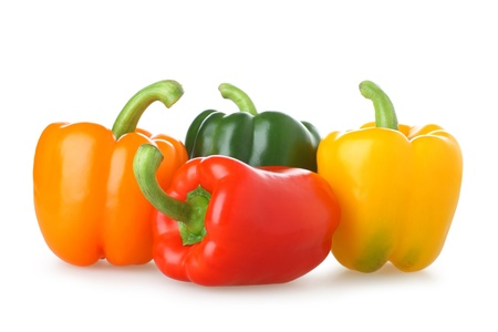 Four of brightly coloured capsicums