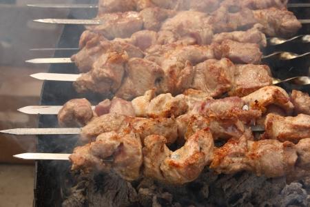 Shish kebab on summer day