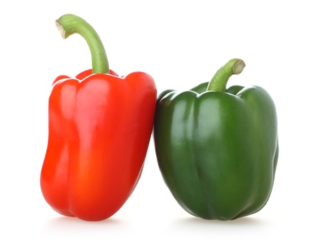 Two of brightly coloured capsicums