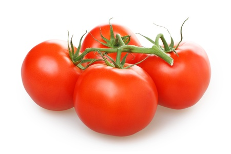 Closeup of tomatoes on the vine on white background Stock Photo